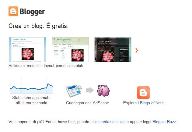 Uno screen shot da Blogger