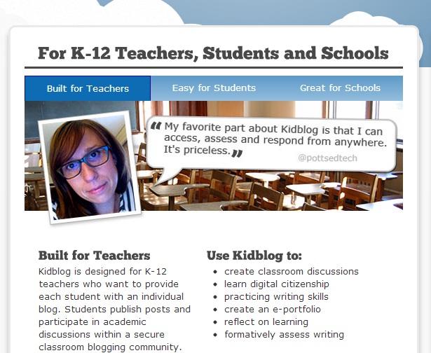 Uno screen shot da KidBlogs